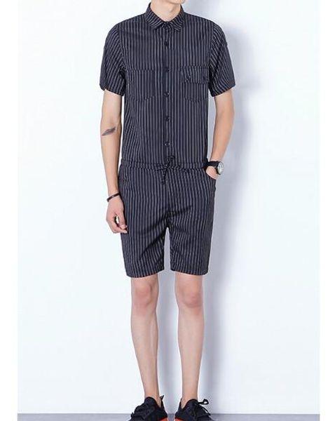 Harajuku Gothic Rompers For Men Mens Striped Jumpsuit Harem Cargo Overalls Summer Hip-Hop Casual Bibs Pants
