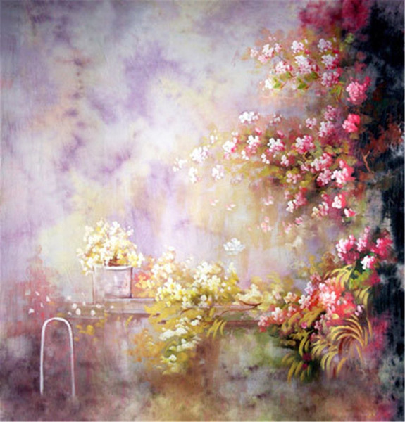 Oil Painting Flowers Photography Background Vinyl Backdrops Light Purple Wall Photo Studio Newborn Baby Props Custom Backgrounds 5x7ft