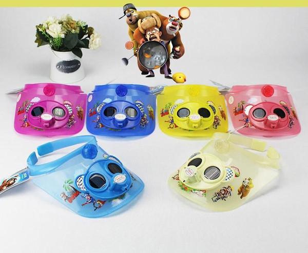 2015 summer children solar fan hat Korean cartoon bear infested students visor flash lights