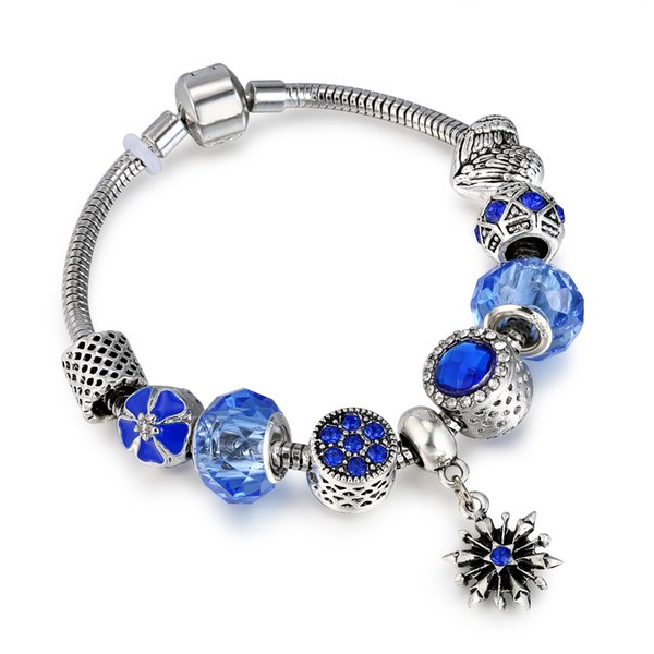 top popular Antique Blue Charm Bracelet & Bangle with Snowflake and Flower Crystal Beads Women Wedding Valentine's Day Gift AA127 2019