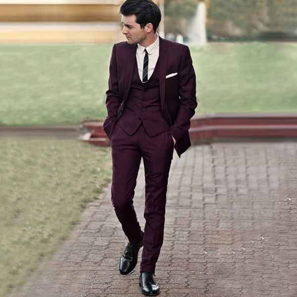 Burgundy Wedding Tuxedos Slim Fit Suits For Men Jacket Pants And Vest Groomsmen Suit Three Pieces Custom Made Prom Formal Suits