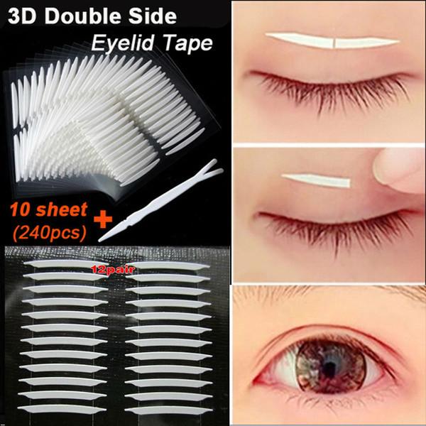 Toptan-Yeni 240 adet / grup 3D Çift Taraflı Görünmez Göz Kapağı Bant Güçlü Yapıştırıcı Göz Kapağı Sticker Güzellik Gözkapağı Araçları Kadınlar Için Kız Toptan