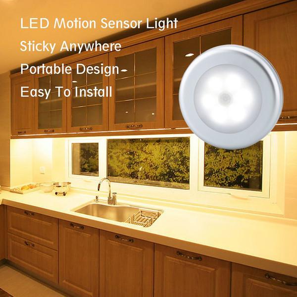 Lámpara de noche con sensor de batería portátil, luces redondas de panel blanco frío con stick 3M y detector de barras PIR de detección Hall de entrada