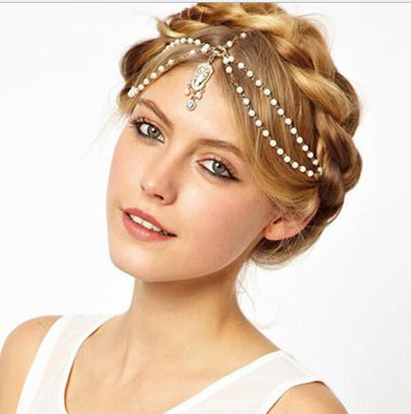 top popular Vintage Crystal Rhinestone Hair Accessories Fashion Bridal headpiece Women Wedding Hair jewelry Crystal Pearl Headbands Hairband 2021