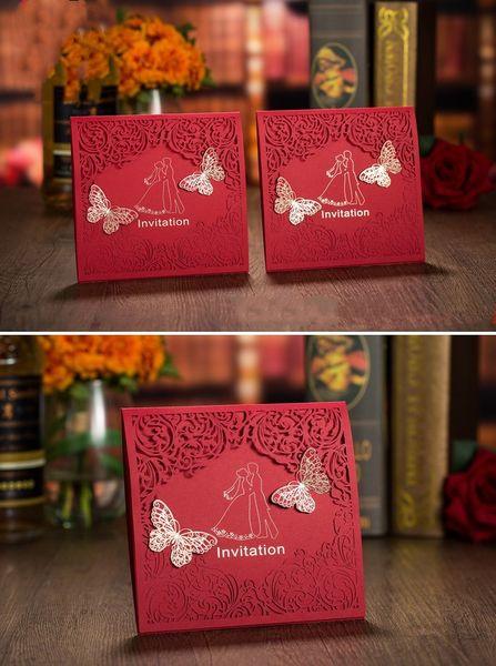 Red color European New designs wedding invitation personalized wedding invitation cards creative wedding invites DHL free shipping
