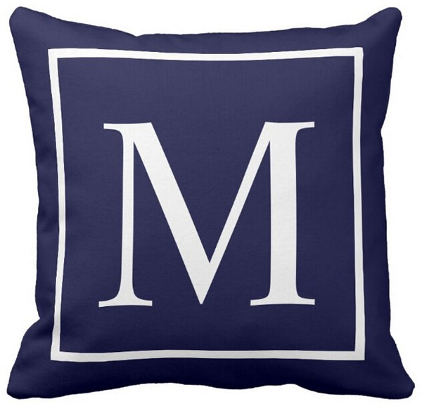 Admirable Pillow Case Customize Monogram Text On Navy Blue Outdoor Square Sofa And Car Cushions Cover 16Inch 18Inch 20Inch Pack Of X Outdoor Settee Cushions Pabps2019 Chair Design Images Pabps2019Com