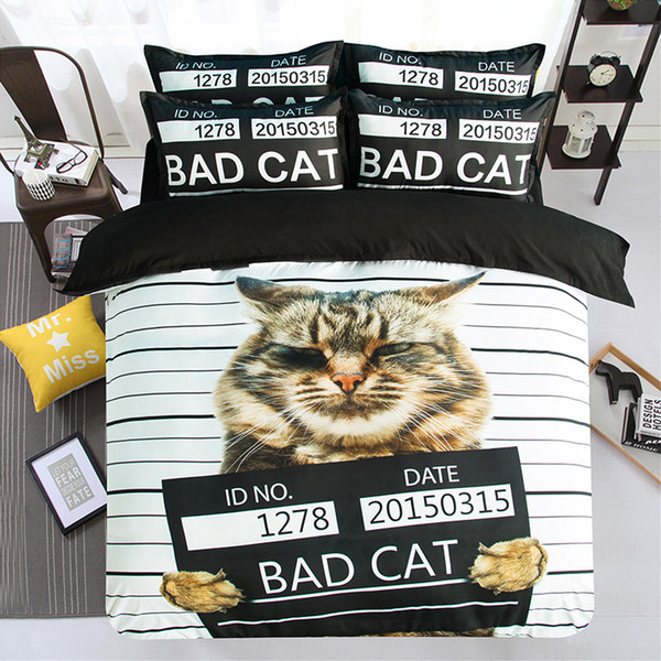 Hot Sale Design Cute Bad Cat Printing Bedding Set Twin Full Queen King Size Fabric Cotton Duvet Covers Pillow Shams Comforter Animal Fashion