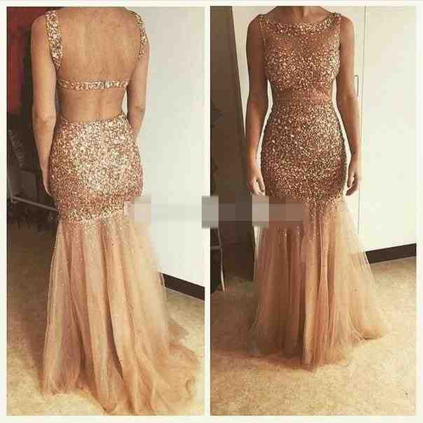 2019 Sexy Backless Illusion Mermaid Evening Dresses Sleeveless Cutaway Sides Tulle Champagne Gold Luxury Crystal Prom Dresses Floor Length
