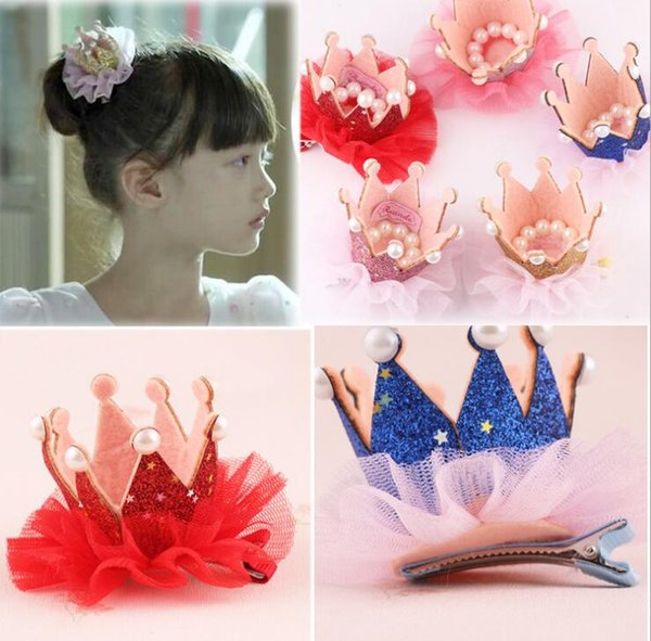 Luxus Schöne Kinder Mädchen Spitze Crown Pearl Prinzessin Haarnadel Haarspange Kopfschmuck Kopfbedeckung Tiara Haarschmuck