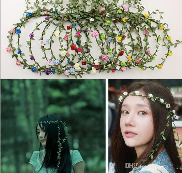 Hand Made Artificial Flower Floral Garland Bridal Hair Headpiece Headband Wedding Tiaras Hair Accessories