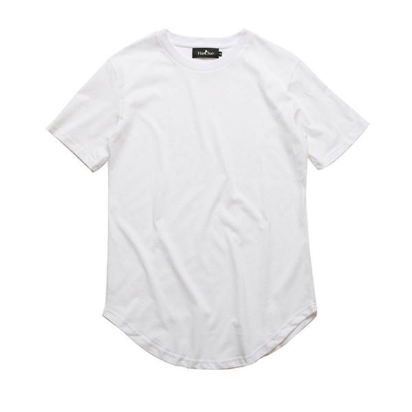 Curved Hem Hip Hop Tshirt Men Summer Blank Extended Mens T-shirts Urban Kpop Men Tee Shirts Justin Bieber Kanye West Clothes