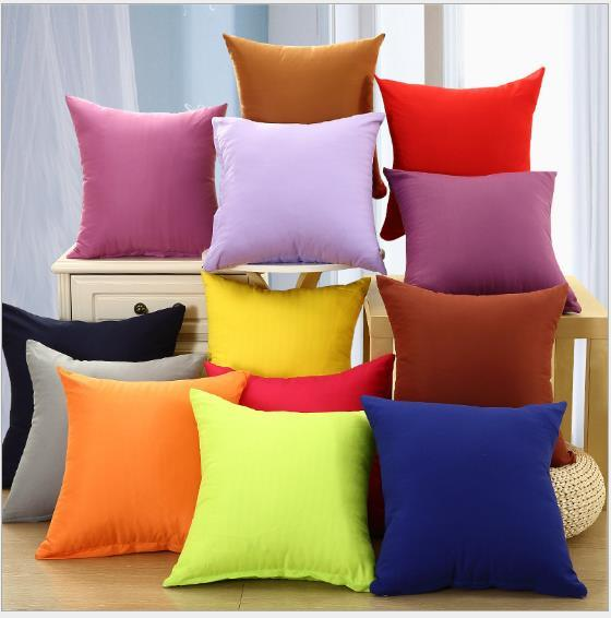 top popular Free shipping cushion case square pillow cover 40 45 50 55 60 cm plain candy color for office and home 2019