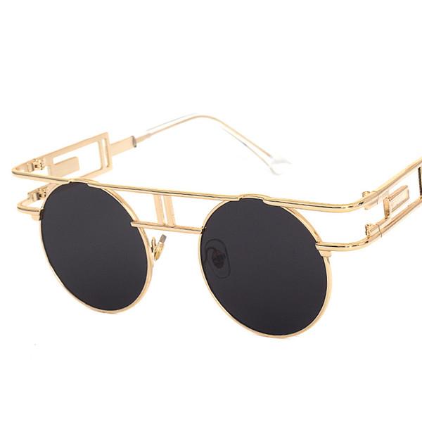 Moda Steampunk Gafas Hombres Mujeres Ronda Vintage Hippie Gafas de sol Steampunk Gafas Gótico Retro Gafas UV400 Protección
