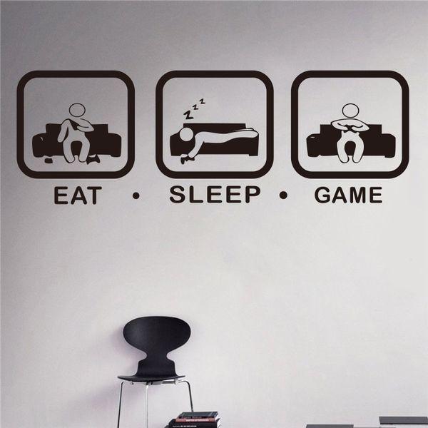 Eat Sleep Game Wall Decal Gaming Joystick Playing Sticker Wall Decal Gaming Decor Gamer Ps4 Geek Wall Art Sticker