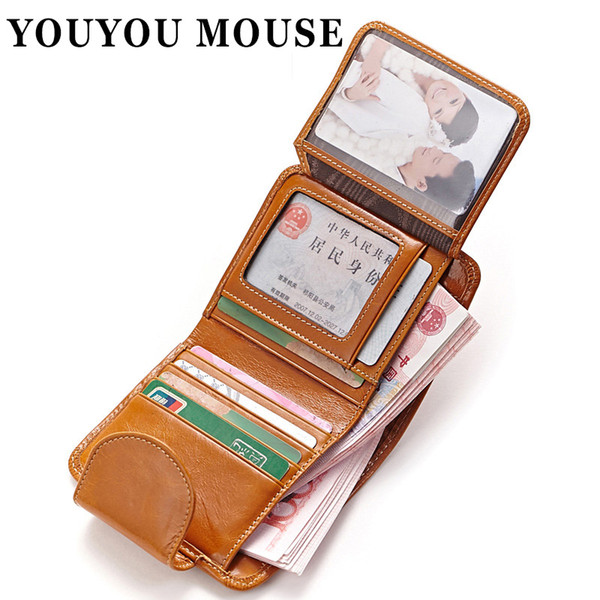 YOUYOU MOUSE Oil Wax Paper Genuine Leather Womens Wallet Fashion Purse Women's Cowhide Clutch Credit Thread Card Holder Vintage