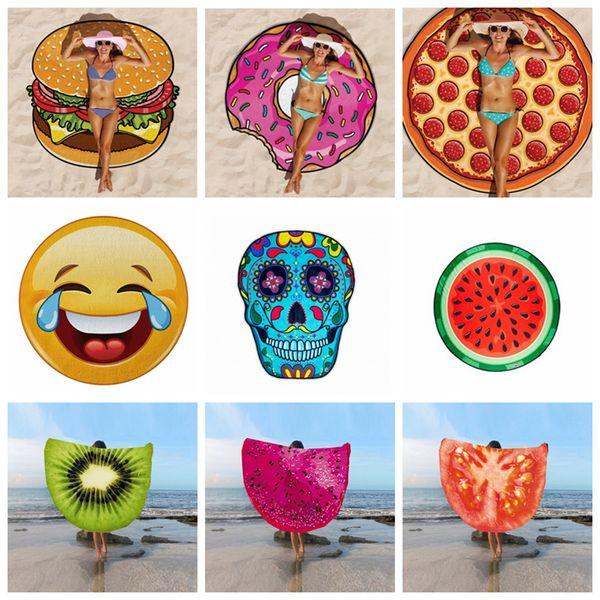 18 Designs Round Beach Towel Pizza Hamburger Strawberry Emoji Pineapple  Watermelon Food Fruit Shower Towel Blanket Shawl OOA1620 Cheap Towel Sets