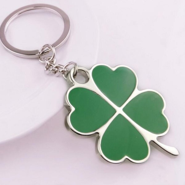 1pcs Creative Beautiful Alloy Green Lucky Clover Key Chain Jewelry Key holder hangings Key Ring women bag charm accessories