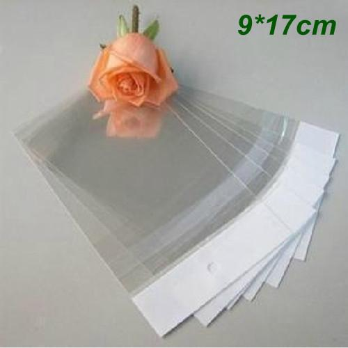 Wholesale- 9cm*17cm Clear Self-adhesive Seal Plastic Bags OPP Poly Storage Bags Retail Packaging Bag W/ Hang Hole Wholesale 500Pcs/Lot