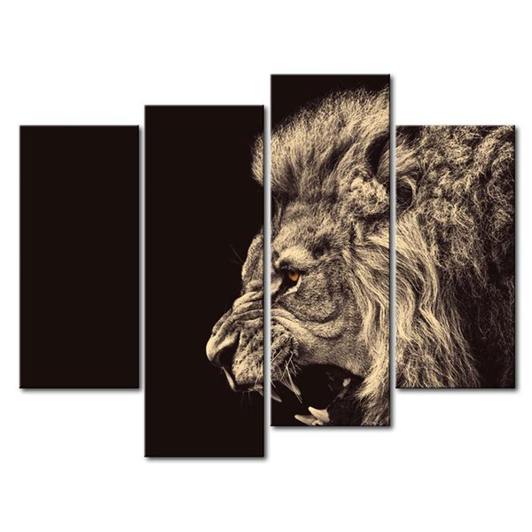 YIJIAHE DW28 Canvas Painting Art 4 Pieces Roaring lion Wall Art Pictures Print On Canvas Become Paintings To Decorate Your House Office ect.