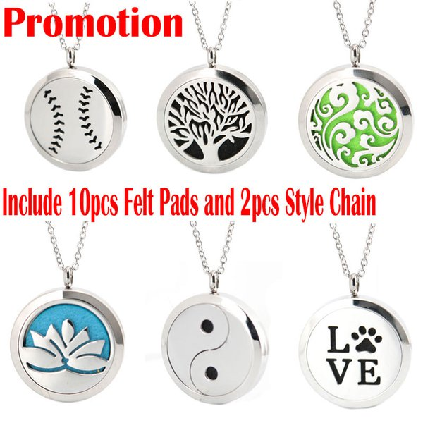 "top popular Premium Aromatherapy Essential Oil Diffuser Necklace Locket Pendant, 316L Stainless Steel Jewelry with 24"" Chain and 10 Washable Pads 2019"