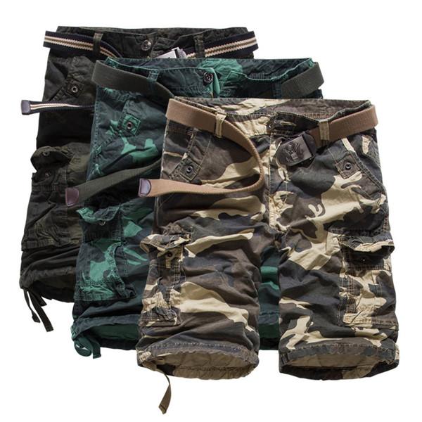 livraison gratuite Nouveau pantalon salopette, mode Europe et les États-Unis camouflage de grands chantiers de pantalons courts pantalons coton K55 (pas de ceinture)