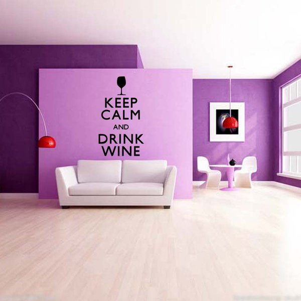 Keep Calm And Drink Wine Quotes Personality Kitchen Bar Drawing Room Wall Stickers Vinyl Graphics Decals DIY