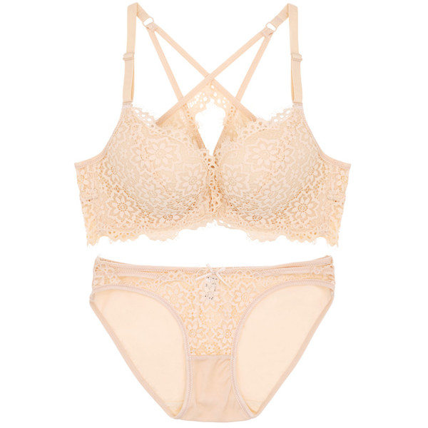 Beauty back pack young girls small underwear set lace push up front closure women fashion respirable bra sets deep-v intimates