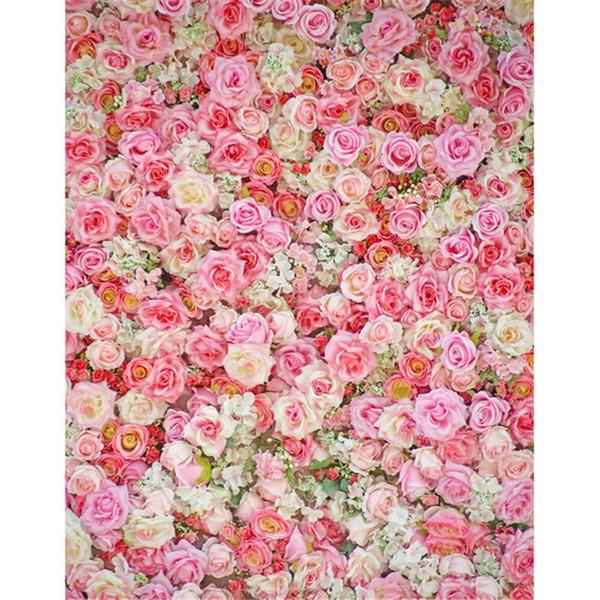 5x7ft Vinile Fondali Fotografia 3 D Rosa Fiori Bianchi Romantico Giorno di San Valentino Contesto Bambino Studio Sfondi