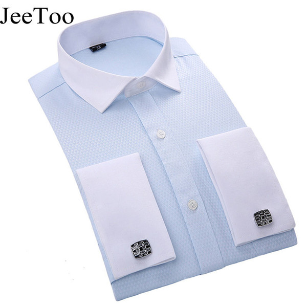 Wholesale- Men French Cufflinks Shirt 2017 New Men's Shirt Long Sleeve Business Male Brand Shirts Slim Fit French Cuff Dress Shirts For Men
