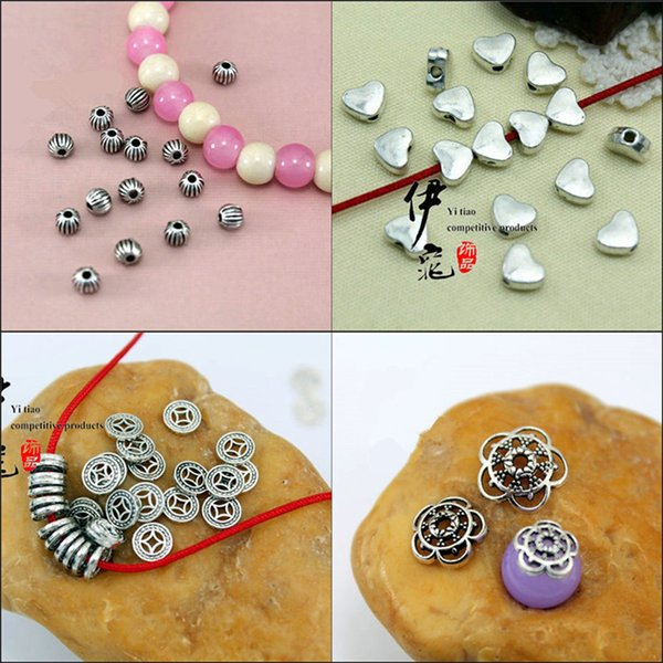 100 pcs Tibetan Silver Big Hole Spacer Beads Fit Pandora DIY Jewelry Loose Beads Flower End Caps For Bracelet&Necklace 1.2mm Hole Findings