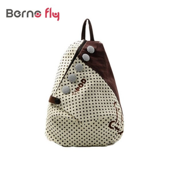 Wholesale- 2017 Fashion Women Backpack Small casual back bag Contrast Polka Dot Button Decoration Canvas Shoulder Bag Khaki with Red Dot