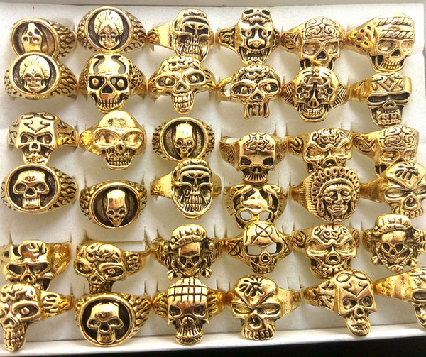 Wholesale lot 50pcs Gold Mix Men Gift Mens Punk Style Jewelry Skull Ring Skeleton Pattern Man Gothic Biker Rings Party Gift Wholesale