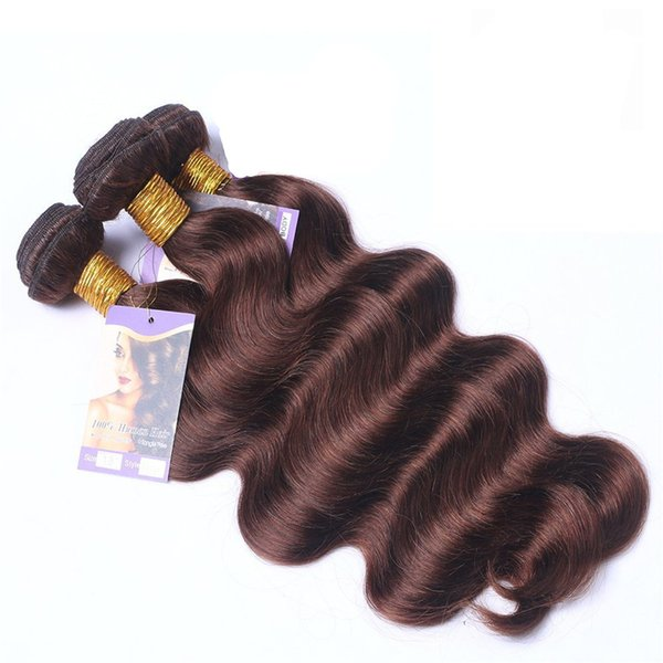 Malaysian Human Hair Bundles #2 Dark Brown Body Wave Virgin Hair Wefts Chocolate Colored Body Wave Hair Extensions Macho Colored 3pcs Lot