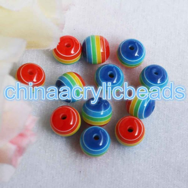 100Pcs 6/8/10/12MM Resin Round Striped Beads Rainbow Striped Spacer Gumball Beads Charms Loose Spacer Striped Beads For Jewelry Making