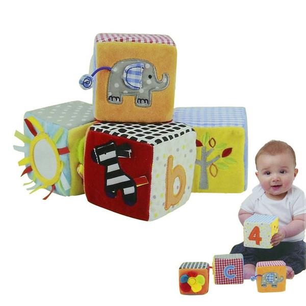 Nuevos juguetes para bebés Juguete de 8,5 cm Juego suave Cubos de tela Bloques de construcción de peluche Juguete educativo temprano Conjunto de muñecos coloridos para bebés