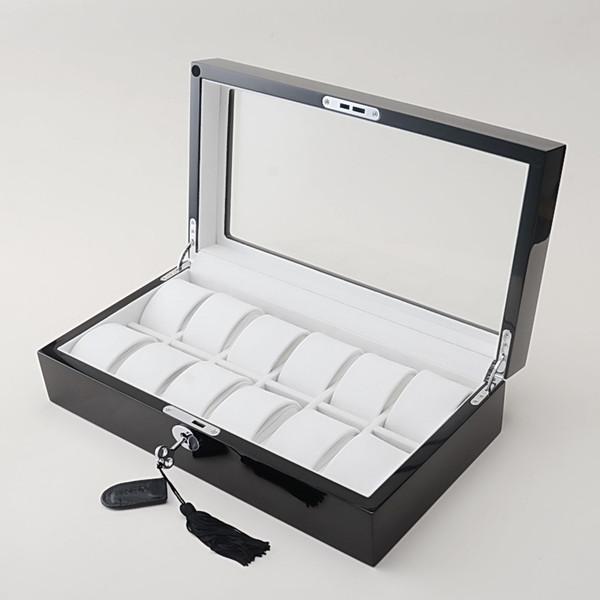 Luxury black wood muliple layers of high-gloss piano lacquer finish 12 Slots Watch Box Display Case Jewelry Collection Storage Organizer Box
