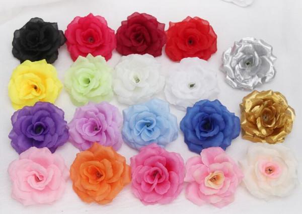 Recién llegado de Seda de la flor artificial sola peonía Rose Camellia Boda Navidad 8cm 15 colores