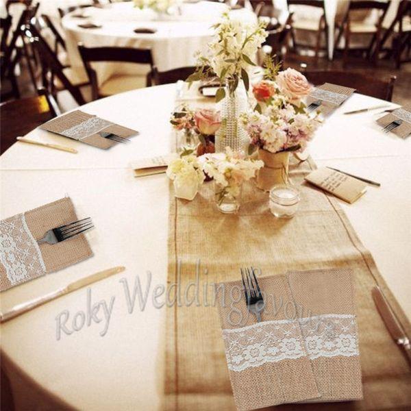 Free Shipping 10pcs Jute Lace Cutlery Pocket Burlap Knife and Fork Bag Vintage Wedding Tableware Bag Rustic Bomboniere Decors