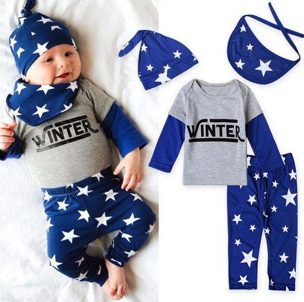 Hot Europe Ins Infant Baby Boys 4pcs Set Stars Clothing Outfits Kids Letters Long Sleeve Tops Tshirt + Pants + Hat + Bib Children Suits