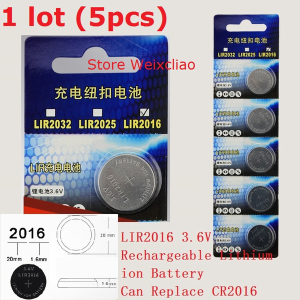 5pcs 1 lot LIR2016 3.6V Lithium li ion rechargeable button cell battery 2016 3.6 Volt li-ion coin batteries CR2016 Card Free Shipping