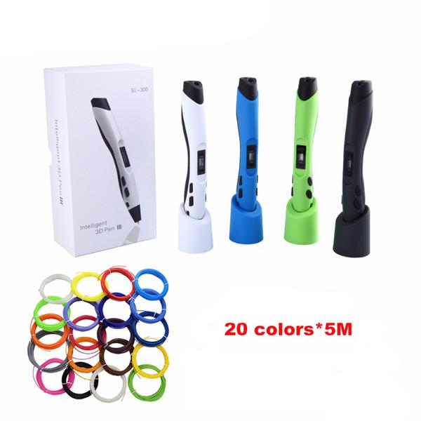 top popular SUNLU SL-300 Children Doodle Toy 3D Pen Printer with 5mm 20colors PLA Filament LCD ControlIntelligent Temperature Sensing 3D Pen free post 2021