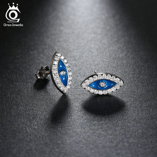 ORSA Sapphire Evil Eye Earrings White Gold Plated CZ Diamond Jewelry Stud Earrings for Women OEW131