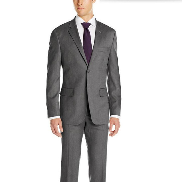 Gray lapel men suits tailor made men wedding suits tuxedos slim fit single breasted formal feast dinner dress suits(jacket+pants)