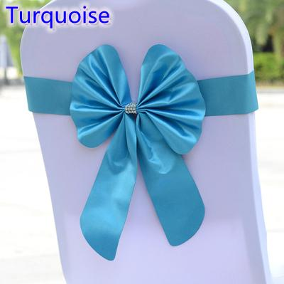 Turquoise colour chair sash butterfly style bow tie stretch sash lycra band spandex chair cover sash for weddings wholesale