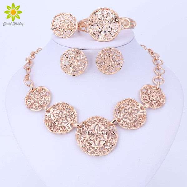 Wholesale Fashion Nigerian Wedding Gold-color African Beads Jewelry Sets For Women Party Dubai Jewelry Set Wedding Accessories