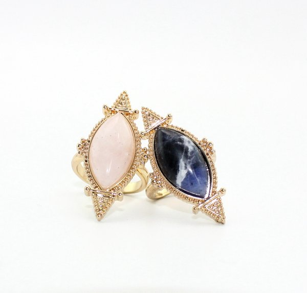 Fashion Druzy Natural Stone rings Quartz rose amethyst Gem Crystal blue-veins stone Charms Gold Plated Rings for women