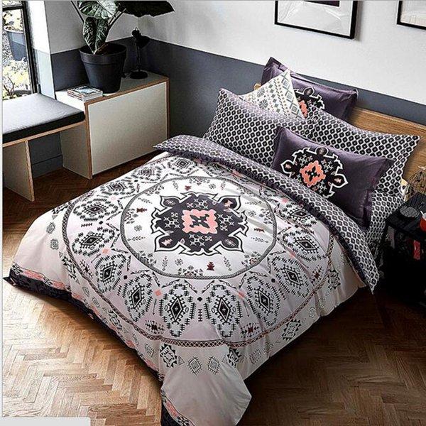 Literie géométrique de style de mandala de coton ponçage coton tissu Reine King taille housse de couette ensemble de literie 4pcs