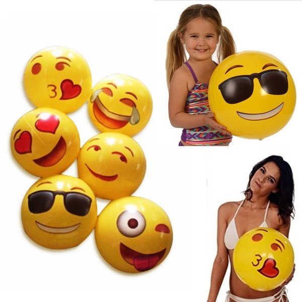 12 inch Beach Balls QQ Emoji Smile Face Ball PVC Inflatable Children Adults Swim Pool Water Fun Toys Gifts Free DHL 225