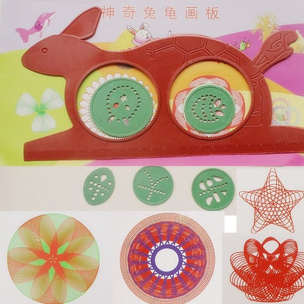 top popular Novelty Spirograph Magic Turtle Rabbit Drawing Board Kids Educational Toy 2021