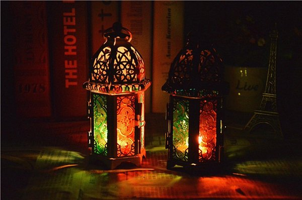Romantic castle retro Morocco iron candle holders Christmas ornament wedding decoration Valentine's Day gifts white black color